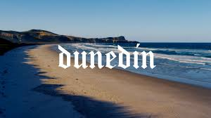 Dunedin logo on beach